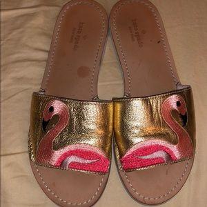 Kate spade slides flamingo size 8 gold pink